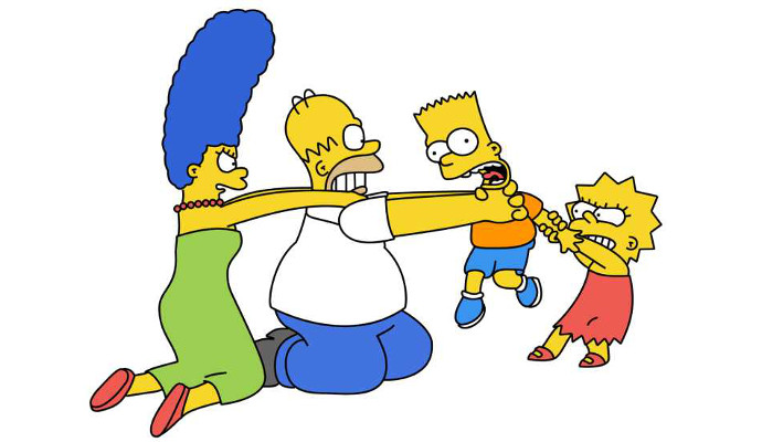 simpsons at each other's throats